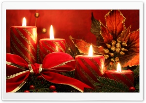 Red Candles And Ribbon HD Wide Wallpaper for Widescreen
