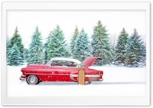 Red Chevrolet Bel Air, Snow, Winter HD Wide Wallpaper for Widescreen