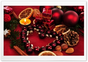 Red Christmas Arrangement HD Wide Wallpaper for Widescreen