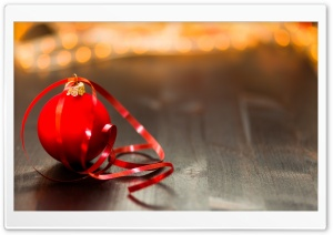 Red Christmas Ball on a wooden table HD Wide Wallpaper for Widescreen