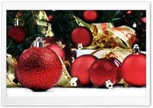 Red Christmas Balls HD Wide Wallpaper for Widescreen