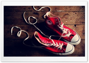 Red Converse Sneakers HD Wide Wallpaper for Widescreen