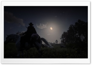 Red Dead Redemption 2 Night Hunt Game Ultra HD Wallpaper for 4K UHD Widescreen desktop, tablet & smartphone