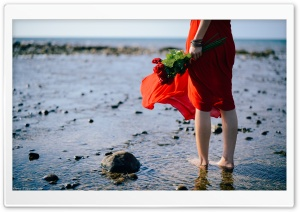Red Dress, Bare Feet in Water HD Wide Wallpaper for 4K UHD Widescreen desktop & smartphone