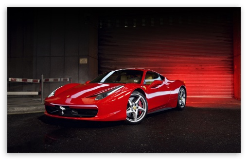 Download Red Ferrari 458 Italia UltraHD Wallpaper
