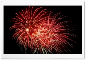 Red Fireworks, Night Sky HD Wide Wallpaper for 4K UHD Widescreen desktop & smartphone