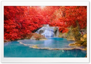 Red Forest, Waterfall, Turquoise Lake HD Wide Wallpaper for Widescreen