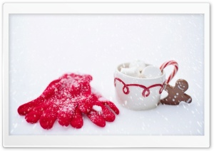 Red Gloves, Hot Chocolate Cup, Snow, Winter HD Wide Wallpaper for Widescreen