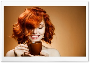 Red Haired Woman Drinking Coffee HD Wide Wallpaper for 4K UHD Widescreen desktop & smartphone