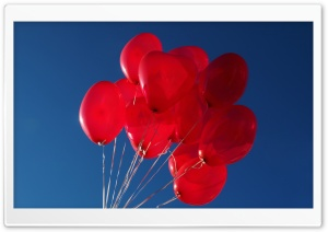 Red Heart Balloons in the Sky HD Wide Wallpaper for Widescreen