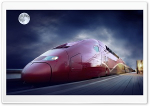 Red High Speed Train HD Wide Wallpaper for Widescreen