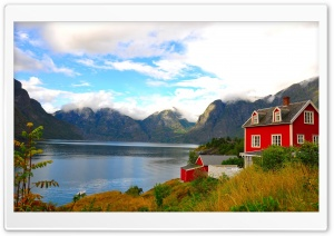Red House By The Lake HD Wide Wallpaper for Widescreen