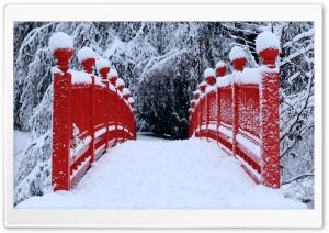 Red Japanese Bridge Winter HD Wide Wallpaper for Widescreen