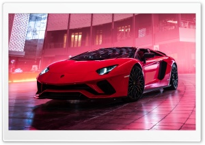 Red Lamborghini Aventador S Roadster Ultra HD Wallpaper for 4K UHD Widescreen desktop, tablet & smartphone