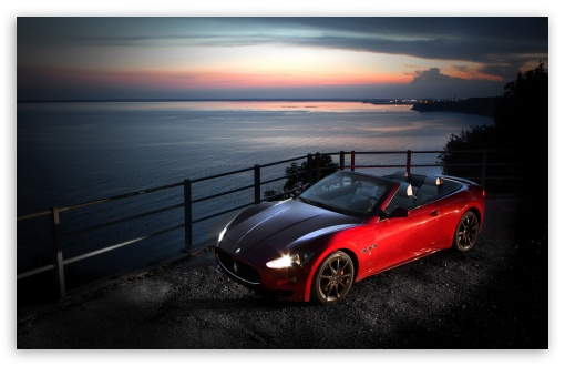 Red Maserati Gancabrio HD desktop wallpaper