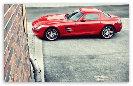 Download Red Mercedes Benz SLS AMG UltraHD Wallpaper