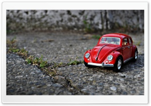 Red Mini Beetle HD Wide Wallpaper for Widescreen