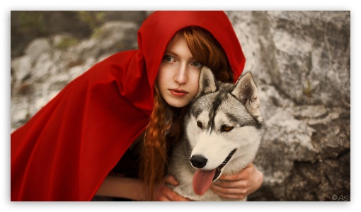 Download Red Riding Hood and Wolf UltraHD Wallpaper