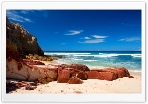 Red Rocks On The Beach HD Wide Wallpaper for Widescreen