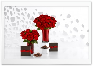 Red Roses Bouquets and Chocolate HD Wide Wallpaper for 4K UHD Widescreen desktop & smartphone