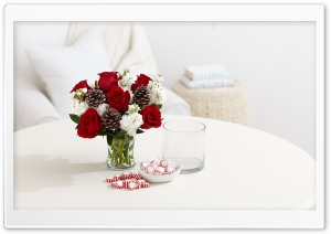 Red Roses, Pine Cones and White Carnations Flowers HD Wide Wallpaper for Widescreen