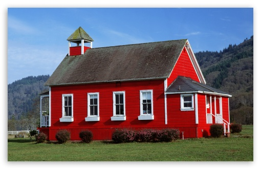 Download Red Schoolhouse, Northern California UltraHD Wallpaper