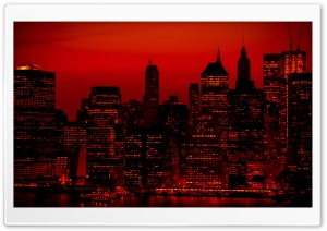 Red Sky At Night New York City HD Wide Wallpaper for 4K UHD Widescreen desktop & smartphone