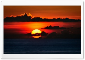 Red Sky, Big Sun Set HD Wide Wallpaper for Widescreen