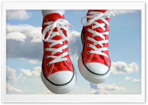 Red Sneakers HD Wide Wallpaper for Widescreen