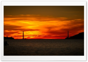 Red Sunrise Bridge HD Wide Wallpaper for Widescreen