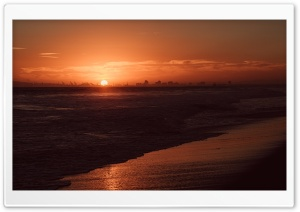 Red Sunset, Bolsa Chica State Beach, California HD Wide Wallpaper for 4K UHD Widescreen desktop & smartphone