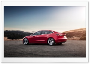 Red Tesla Model 3 Electric Car - Rear Ultra HD Wallpaper for 4K UHD Widescreen desktop, tablet & smartphone