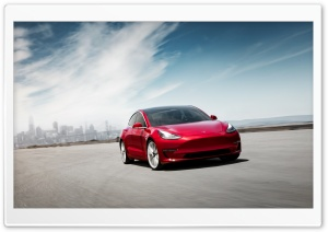 Red Tesla Model 3 Electric Car Performance Motion Ultra HD Wallpaper for 4K UHD Widescreen desktop, tablet & smartphone