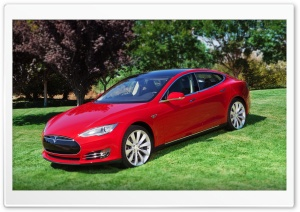 Red Tesla Model S2 HD Wide Wallpaper for Widescreen