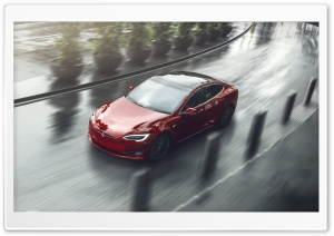 Red Tesla Model S Electric Car, City Curve Ultra HD Wallpaper for 4K UHD Widescreen desktop, tablet & smartphone
