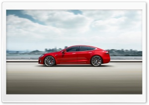 Red Tesla Model S Electric Car Speed Ultra HD Wallpaper for 4K UHD Widescreen desktop, tablet & smartphone