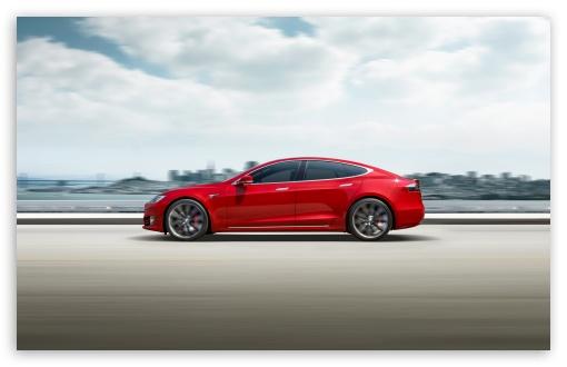 Red Tesla Model S Electric Car Speed Ultra Hd Desktop