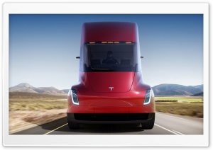 Red Tesla Semi Electric Truck, Road Ultra HD Wallpaper for 4K UHD Widescreen desktop, tablet & smartphone
