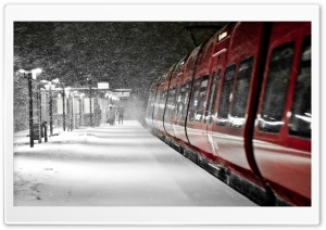 Red Train, Winter HD Wide Wallpaper for Widescreen
