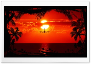 Red Tropical Sunset HD Wide Wallpaper for Widescreen