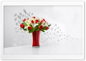 Red Tulips and White Lilies Flowers  In A Vase HD Wide Wallpaper for Widescreen