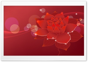 Red Water Lily Illustration HD Wide Wallpaper for Widescreen