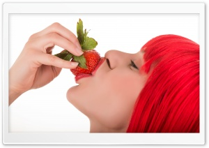 Redhead Girl Strawberry Eating Ultra HD Wallpaper for 4K UHD Widescreen desktop, tablet & smartphone