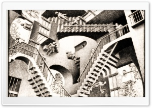 Relativity by M. C. Escher HD Wide Wallpaper for 4K UHD Widescreen desktop & smartphone
