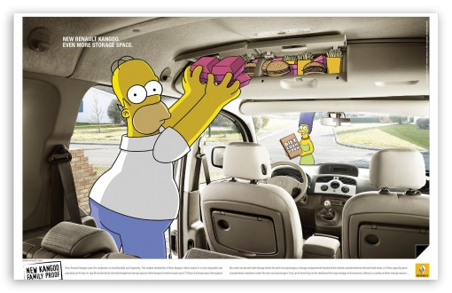 Renault Kangoo Simpsons Advertising HD wallpaper for Wide 16:10 5:3 Widescreen WHXGA WQXGA WUXGA WXGA WGA ; Mobile 5:3 - WGA ;