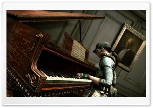 Resident Evil Jill Playing Piano HD Wide Wallpaper for Widescreen