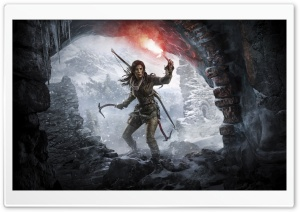 Rise of the Tomb Raider Lara Croft at a Cave Entrance HD Wide Wallpaper for 4K UHD Widescreen desktop & smartphone