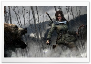 Rise of the Tomb Raider Lara Croft vs Bear HD Wide Wallpaper for 4K UHD Widescreen desktop & smartphone