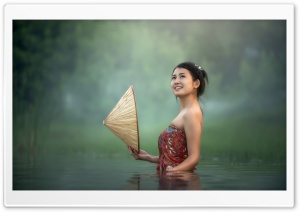 River Bathing In Asia HD Wide Wallpaper for Widescreen