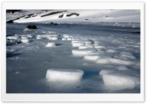 River Ice Blocks, Winter HD Wide Wallpaper for Widescreen